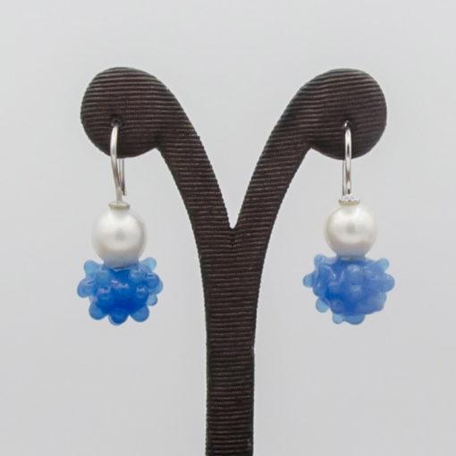 evelyn henschke drop earrings pearl dark blue bead