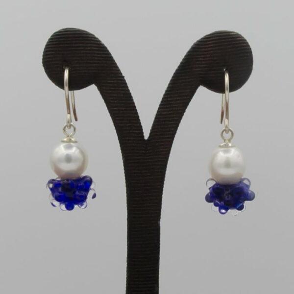 Evelyn Henschke Drop Earrings Pearl Navy Blue Bead