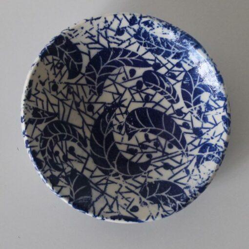 Dariya Gratte Decal Dish Blue Leaf