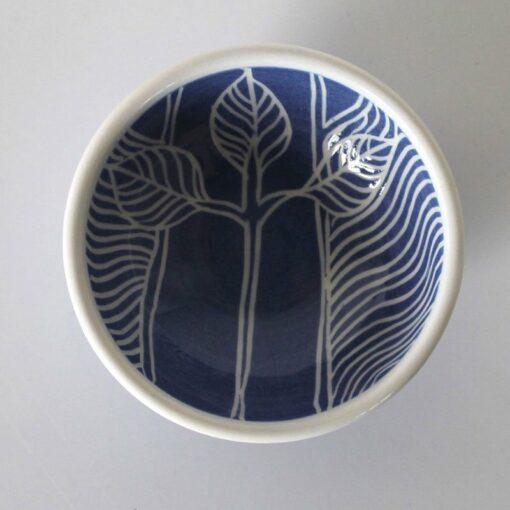 Dariya Gratte Mishima Dish Dark Blue With Just Leaves