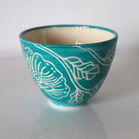 Dariya Gratte Mishima Tea Bowl Aqua