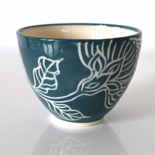 Dariya Gratte Mishima Tea Bowl Deep Blue