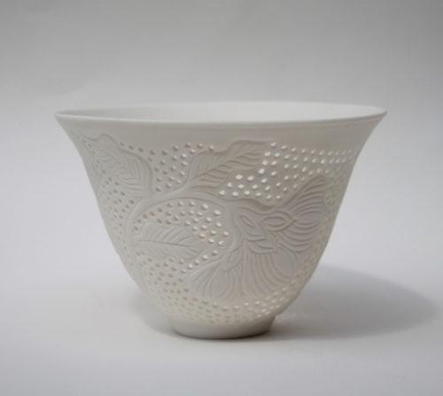 dariya gratte pierced flower bowl small vase ceramic