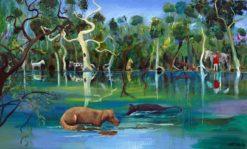 Helen Norton   Dogs in the River Fine Art