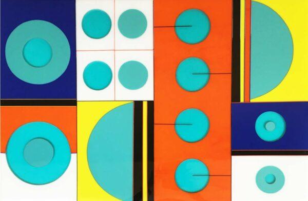 Margaret Heenan Dancing Around Circles Glass Wall Panel