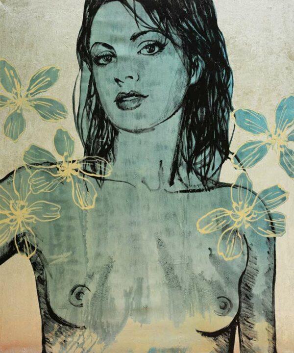 David Bromley Belinda Nude With Flowers Painting