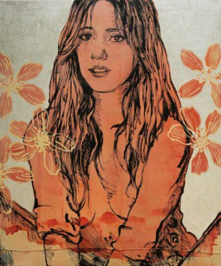 David Bromley Sophie In Orange Painting