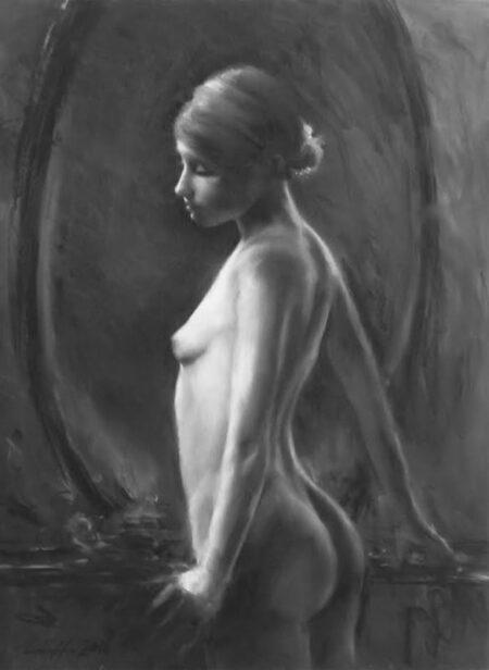 Simon Collins Serene Ballerina Charcoal Painting