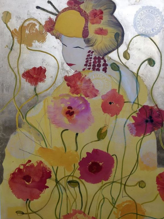 Wendy Arnold Contemplating Poppies Painting 576x768