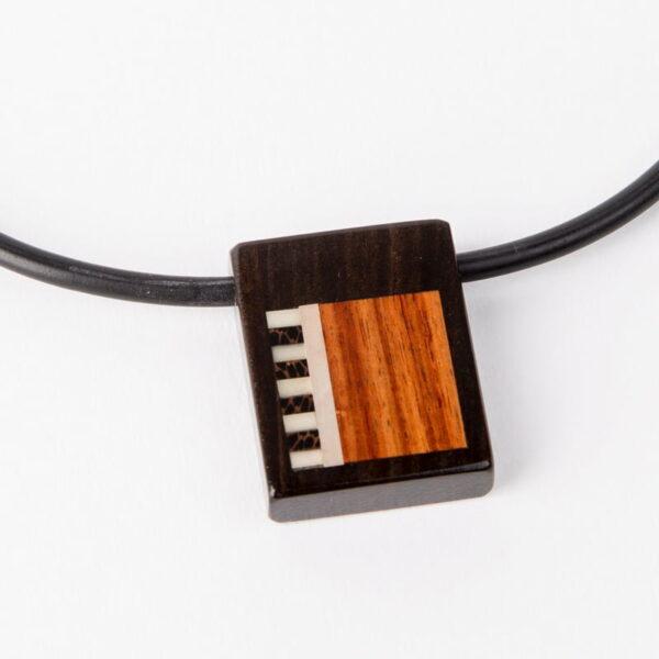 Brendon Collins Aztec Wood Pendant Detail