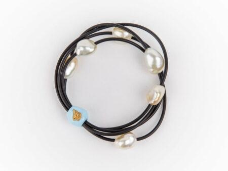 Evelyn Henschke 6 Pearl Gold Nugget Bracelet