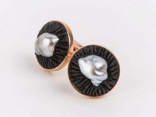 Evelyn Henschke Pearl Rubber Copper Cufflinks 2