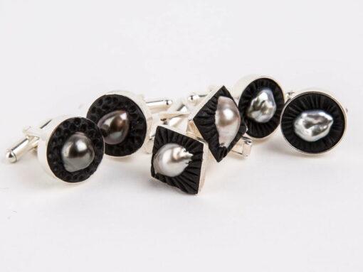 Evelyn Henschke Pearl Rubber Cufflinks