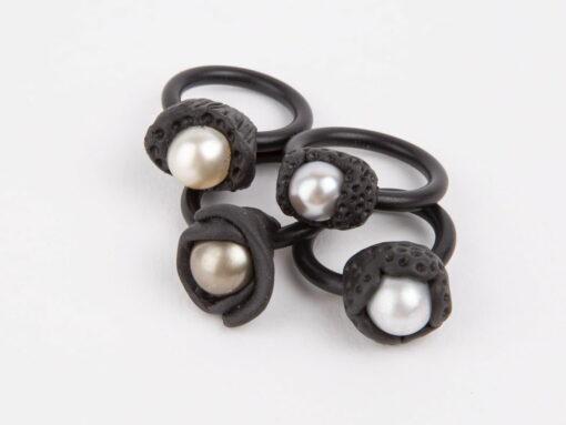 Evelyn Henschke Pearl Rubber Rings