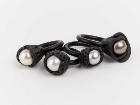 Evelyn Henschke Pearl Rubber Rings Cluster