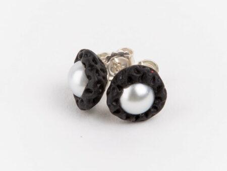 Evelyn Henschke Pearl Rubber Stud Earrings