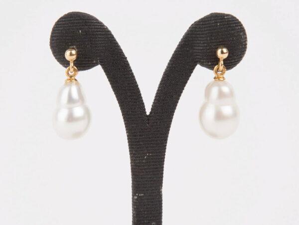 Evelyn Henschke Pearl Stud Drop Earrings