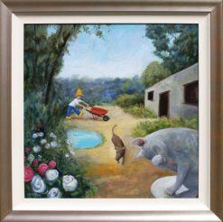Helen Norton Barrow Man painting framed 247x246