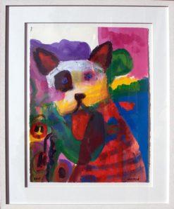 Helen Norton Big Puppy Spot painting framed 247x298
