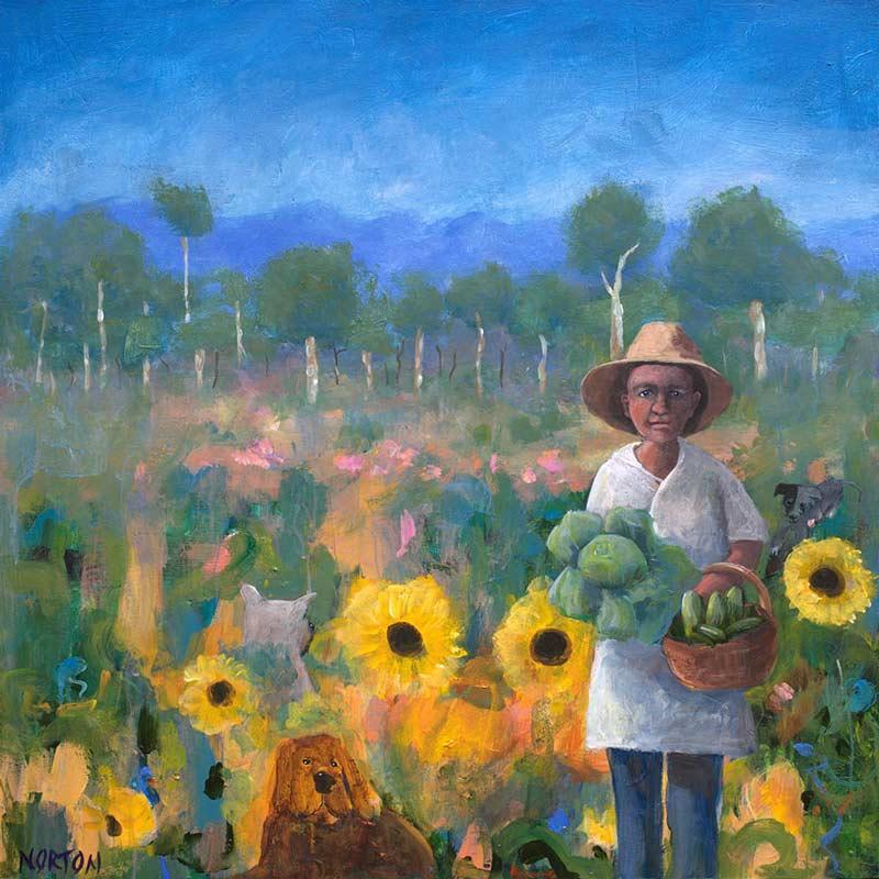 Helen Norton Cabbage Gardener Painting
