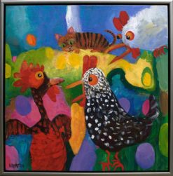 Helen Norton Cat In Chook House painting framed 247x251