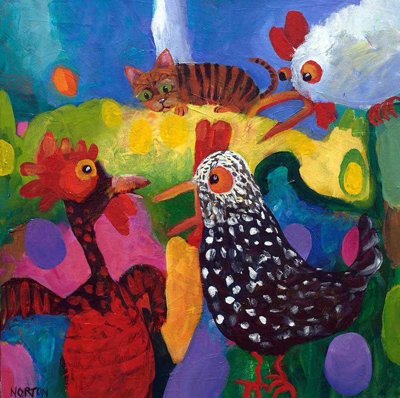 Helen Norton Cat In Chook House Painting