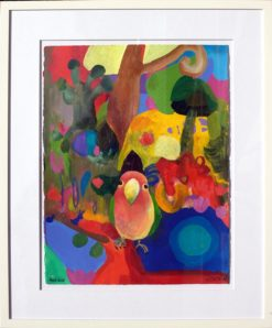 Helen Norton Love Bird painting framed 247x298