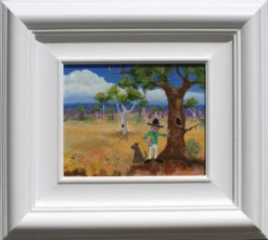 Helen Norton Man By Tree painting framed 247x222