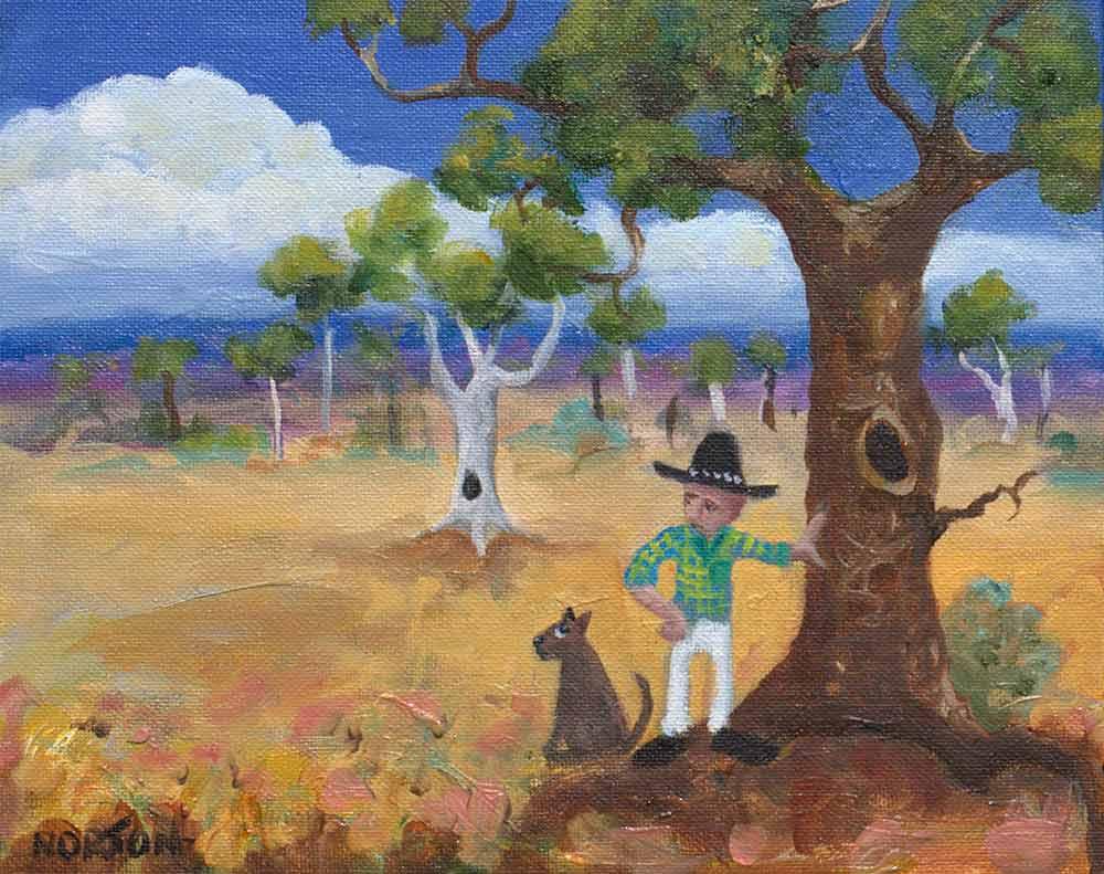 Helen Norton Man By Tree Painting