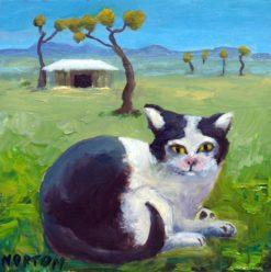 Helen Norton   Piebald Cat On Farm Fine Art