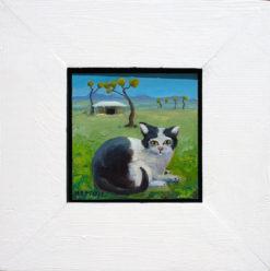 Helen Norton Piebald Cat On Farm painting framed 247x248