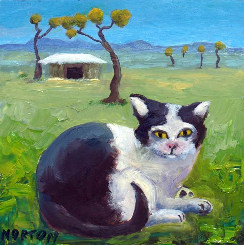 Helen Norton Piebald Cat On Farm Painting