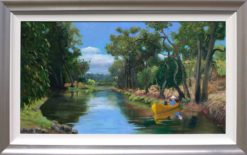 Helen Norton River Boat painting framed 247x155