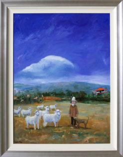 Helen Norton Sheep Farmer painting framed 247x314