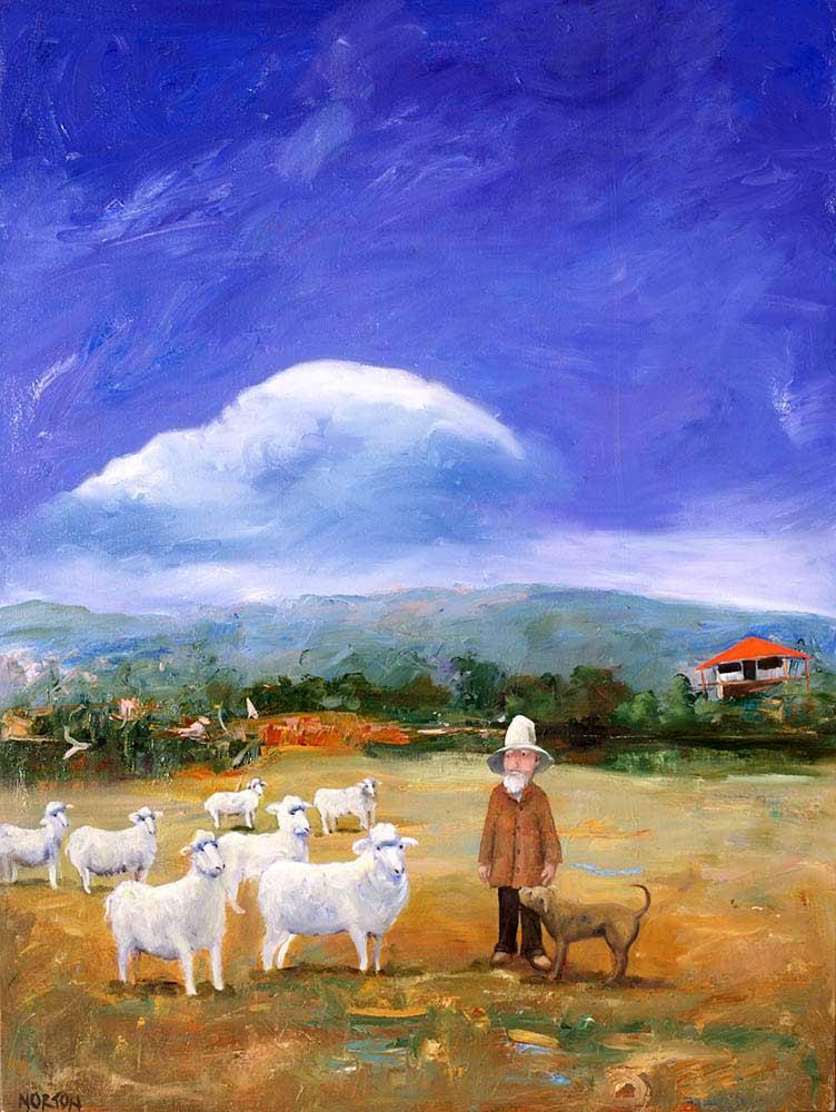 Helen Norton Sheep Farmer Painting