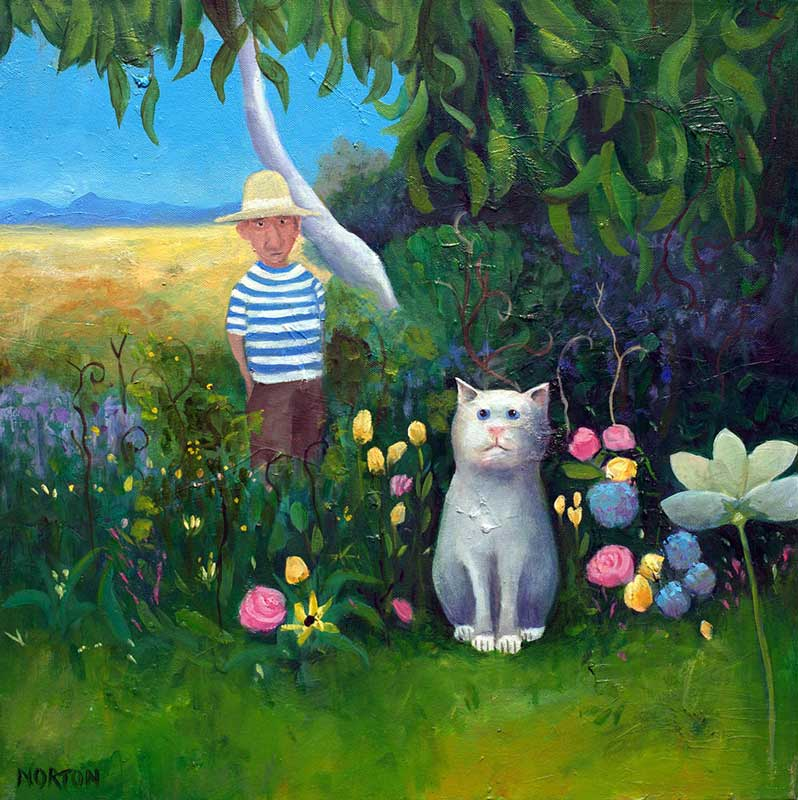 Helen Norton White Cat In Flower Garden Fine Art