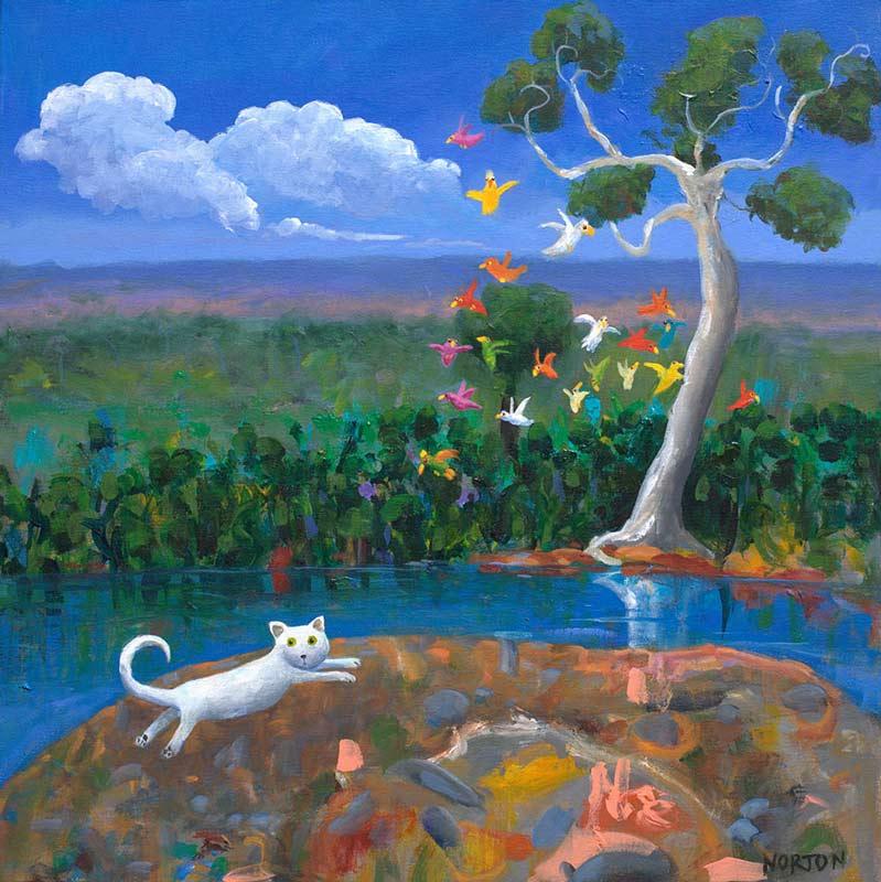 Helen Norton White Cat Startles Birds Painting
