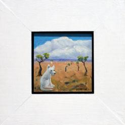 Helen Norton White Dog Enjoying Life painting framed 247x246