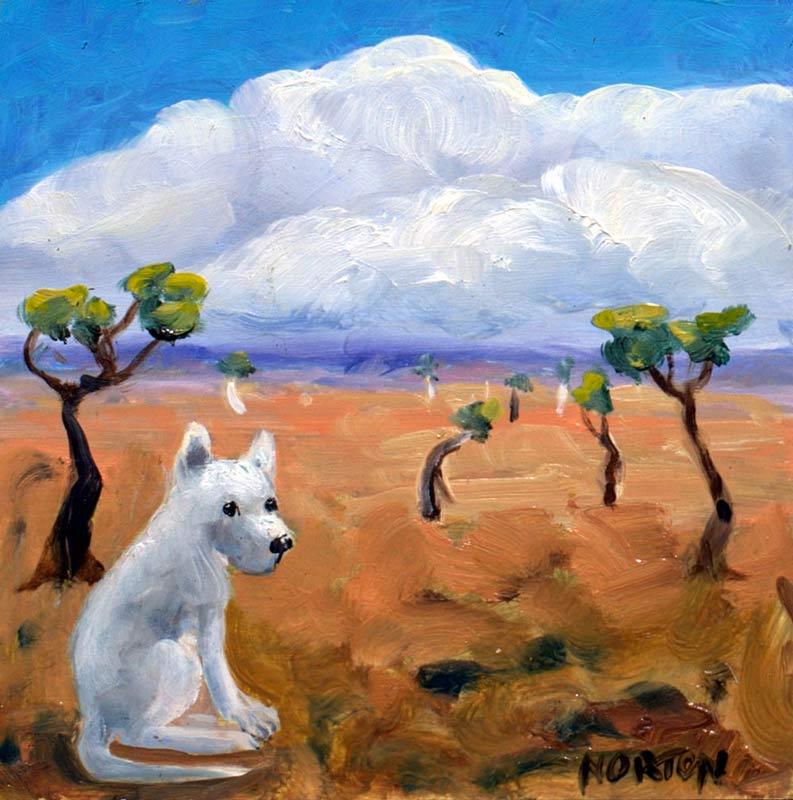Helen Norton White Dog Enjoying Life Painting