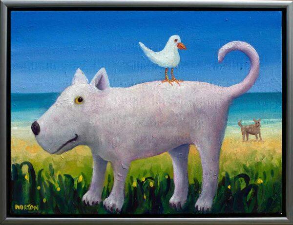 Helen Norton White Dog With Seagull Framed