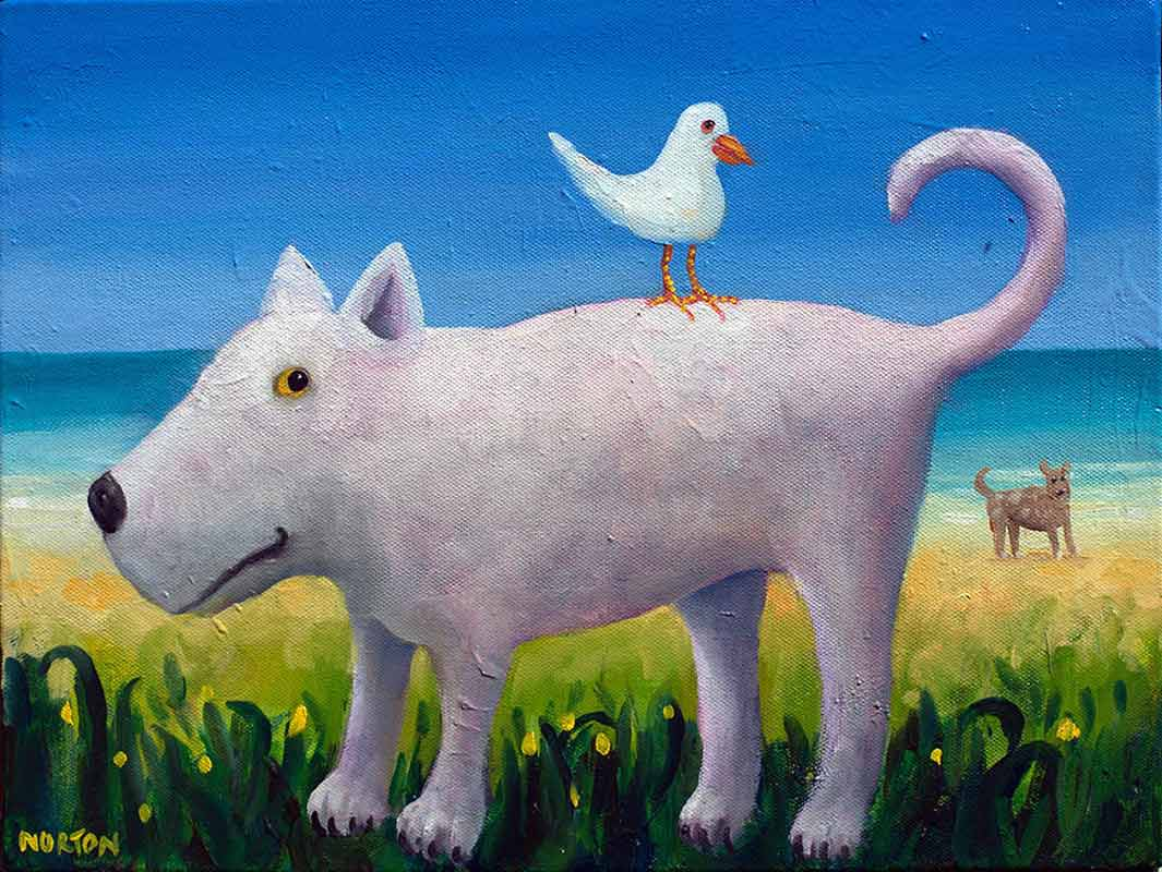 Helen Norton White Dog With Seagull Painting