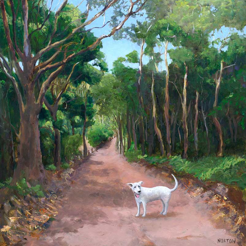 Helen Norton White Dog On Forest Track Painting