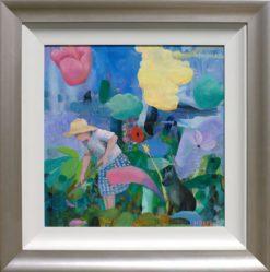 Helen Norton Women Working in Flowers painting framed 247x249