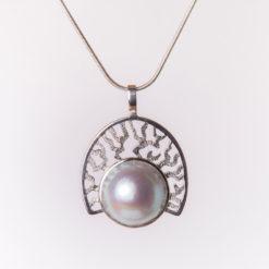 Jane Liddon   Coral Fan Pearl Pendant Fine Art
