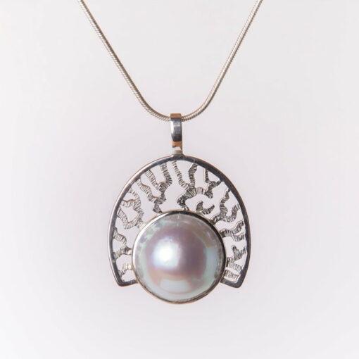 Jane Liddon Coral Fan Pearl Pendant