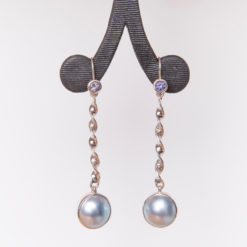 Jane Liddon   Mabe Pearl & Spinel Earrings Fine Art