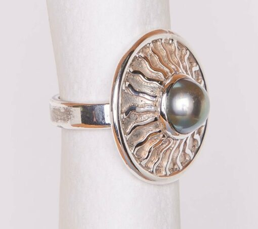 Jane Liddon Pearl Coral Etched Ring Side
