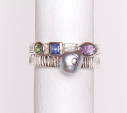 Jane Liddon   Sapphire & Keshi Double Ring Fine Art