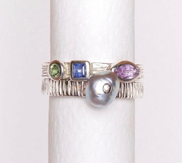 Jane Liddon Tourmaline Keshi Sapphire Double Ring