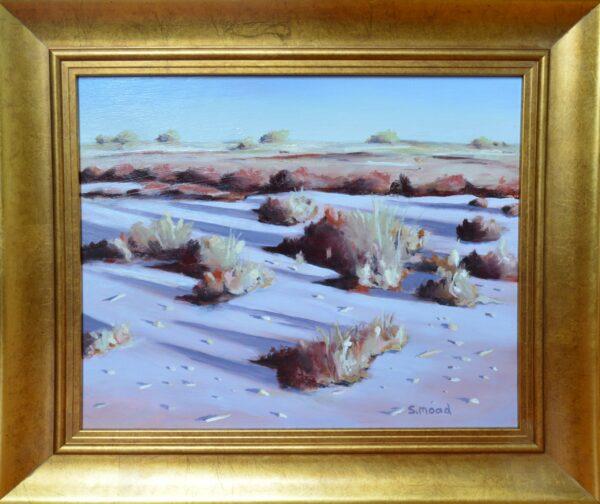 Sm46 Shane Moad Shadows In Saltbush On Lake Ballard 40X35Cm Framed 1100 Scaled